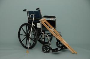Wheelchair, cane, crutches